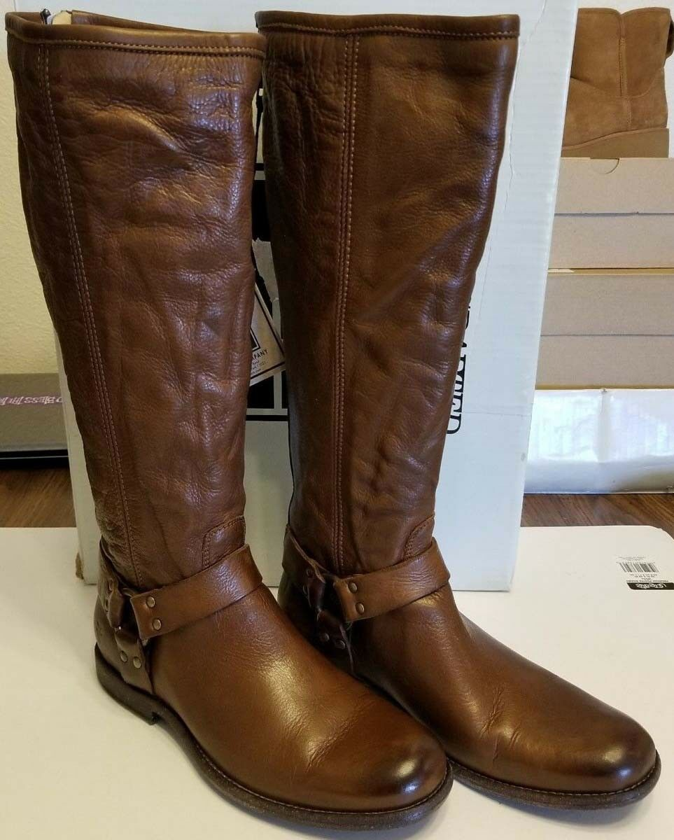 Frye Womens Phillip Harness Cognac Brown Soft Leather Tall Riding Riding Riding Boots 5.5 10ab26