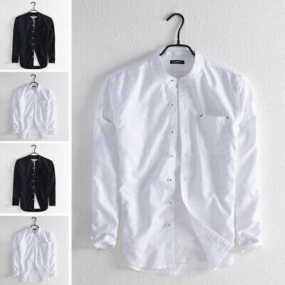 Vintage Mens V Neck T shirt Long Sleeve Collarless Beach Holiday Causal Tops Tee