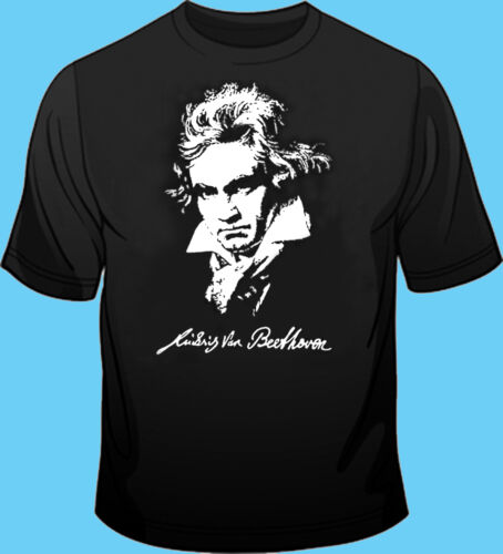100/% Cotton Beethoven Music Black T Shirt Long // Short Sleeve Composer
