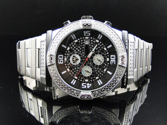 Mens Aqua Master White Gold Stainless Steel Genuine (.45ct) Diamond Watch W#345