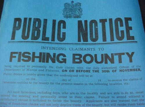 Public Notice Fishing Bounty Broadside Poster 1923 Maritime Canada Nova Scotia