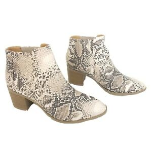 Qupid Snake Skin Print Booties Womens Size 7 Brown White Side Zip Ankle Boots