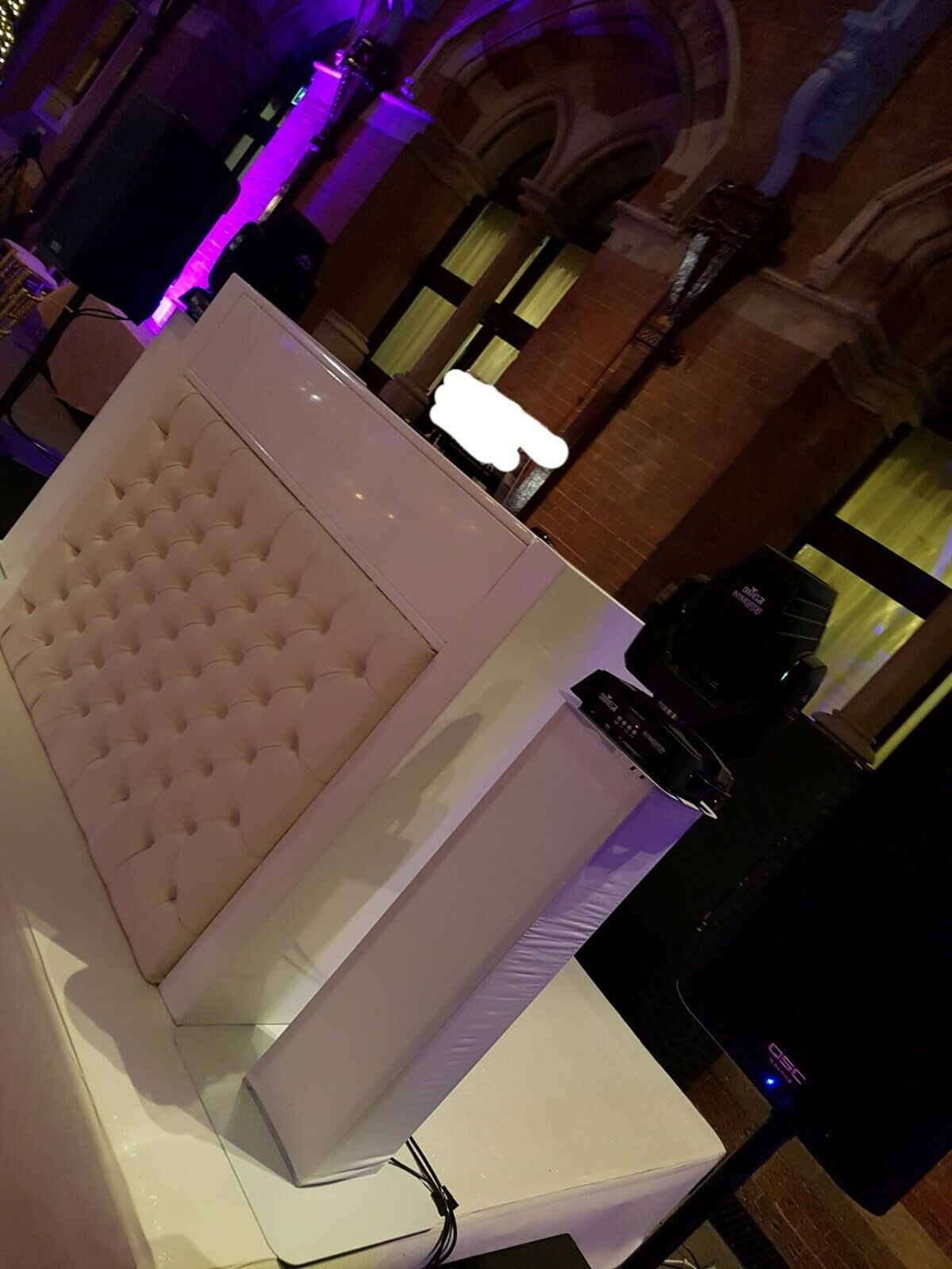 Versatile unique white gloss DJ Booth - double, single, with or without screens