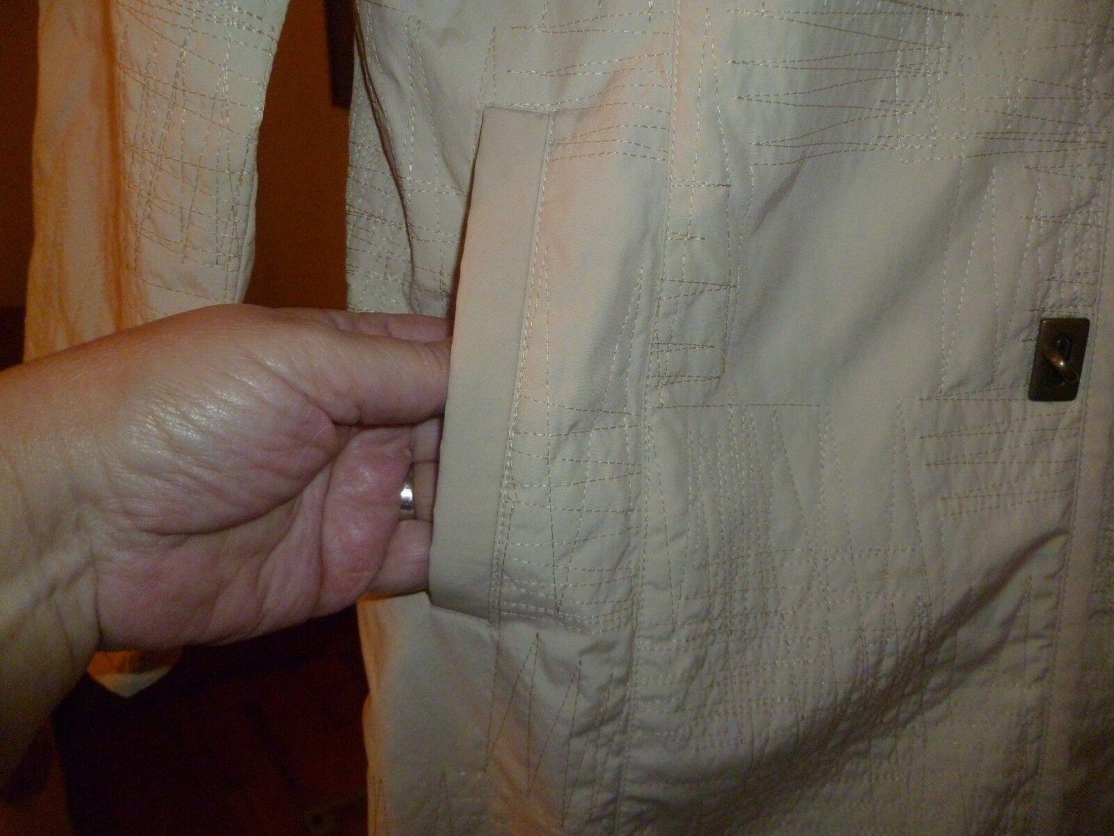 PLATINUM Fully Lined Lined Lined Mandarin Collar Hooks&LOOPS Fasteners Beige Raincoat Sz M. bc9505