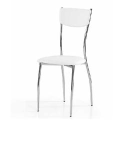 Dettagli su Sedia con struttura in metallo Seduta e schienale ecopelle Bianca Lotto 2 sedie