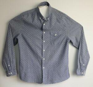 Asos-Men-039-s-Long-Sleeve-Polka-Dot-Blue-Shirt-Size-XL