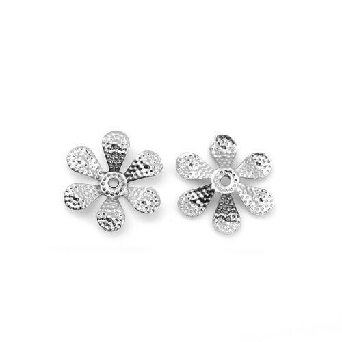 20 trozo de tapas de perlas 18x17mm tapas perlas flor plata filigrana k-1037