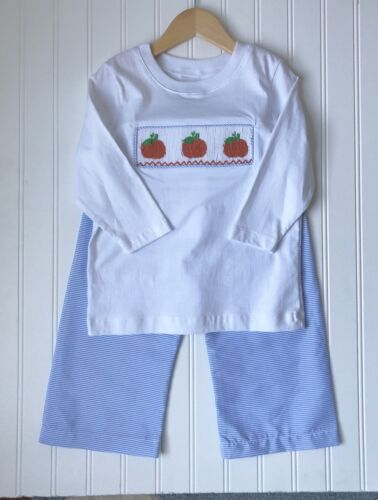Boy's Pumpkin Smocked Shirt /& Pant Set