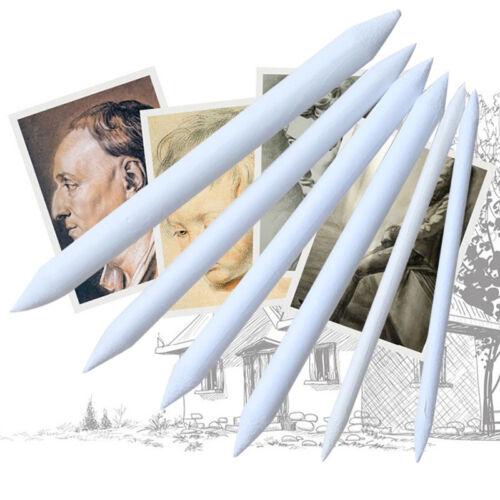 6Pcs Art Supply Blending Stump Tortillon Stick Set 6 Sizes Pastel Chalk Drawing