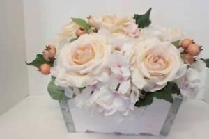 Shabby Cottage Chic Rose Flower Arrangement Silk Roses Hydrangea Flower Box Ebay