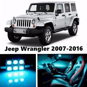 10pcs Led Ice Blue Light Interior Package Kit For Jeep Wrangler 2007 2016 Ebay