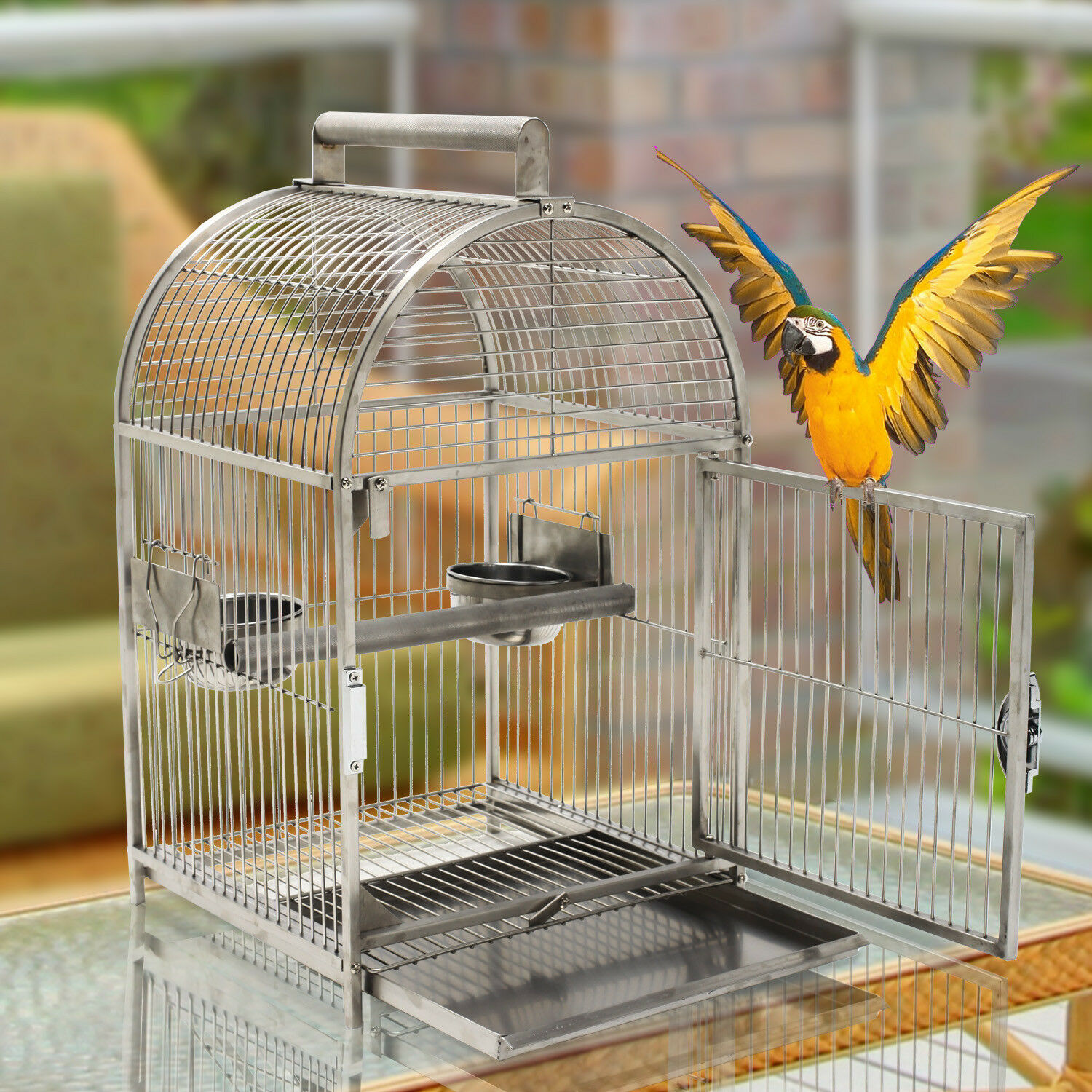 25  Bird Cage Carrier Parred Aviary House Stainless Steel Dome Top