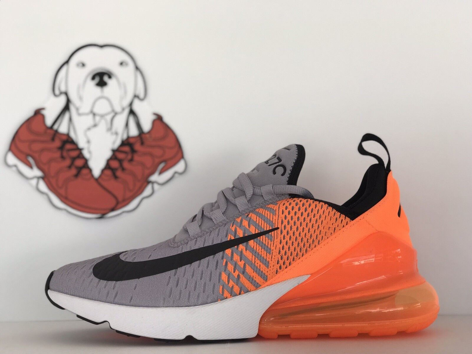NIKE AIR MAX 270 ID orange-PURE PLATINUM-GREY-BLACK-WHITE SZ. 7.5 (AT7467-993)