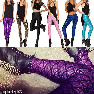 Fashion Womens Lady Mermaid Fish Net Scale Skinny Stretch Slim Pant Leggings