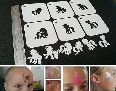 #2 EASTER BUNNY RABBIT Set of 6pcs Airbrush Stencil Kids Party Deco Face Paint