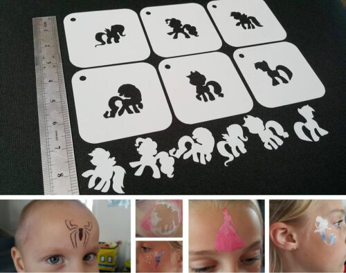 Fit For Kids Face Painting LITTLE PONY Set of 6pcs Stencil Airbrushing Party