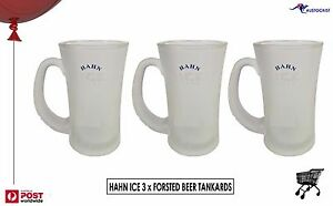 Hahn Ice 3 x Frosted Beer Tankards 400ml Etched and printed logo Man CaveBNWOT