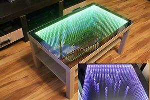 Eiche Oak Table Tisch Couchtisch Spiegel Glastisch Led 3d Tiefeffekt