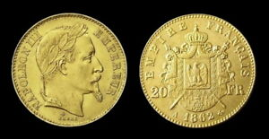 COPIE-Piece-plaquee-OR-GOLD-Plated-Coin-20-Francs-Napoleon-Tete-Lauree-1862-A