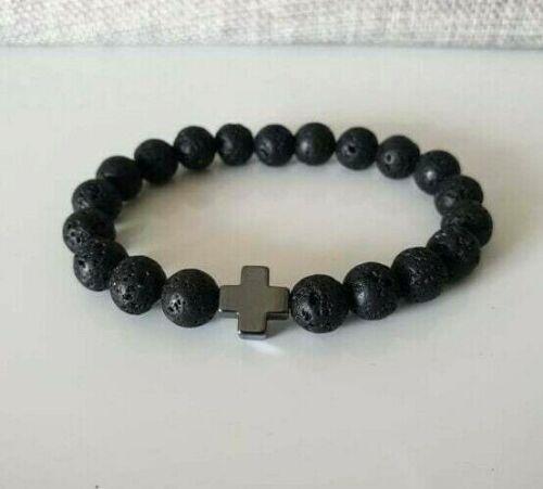 Armband Bracelet Lavastein Schwarz 8mm ✝️ Unisex Armband mit Kreuz Hämatit ✝️