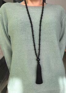dd1836508b4044 Image is loading Long-black-onyx-beads-tassel-necklace-tassel-necklace-