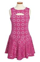 Nicole Miller Cutout Sleeveless Dress Pink Floral Big Girls [sz Medium] 236