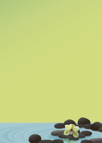 Motivpapier Briefpapier grüne Orchidee schwarze Steine Wellness 20 Blatt A4 neu