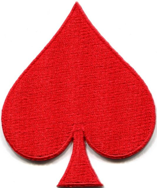 spade card red  Red spades suit playing cards biker retro poker applique iron-on patch S-6