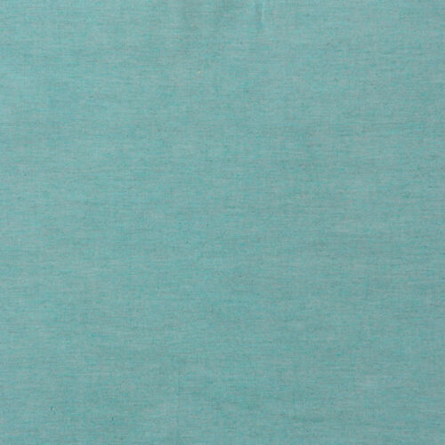 CHAMBRAY YARN DYED COTTON FABRIC CURTAIN BEDDING CHECK FROSTY MELANGE MINT 44/'W
