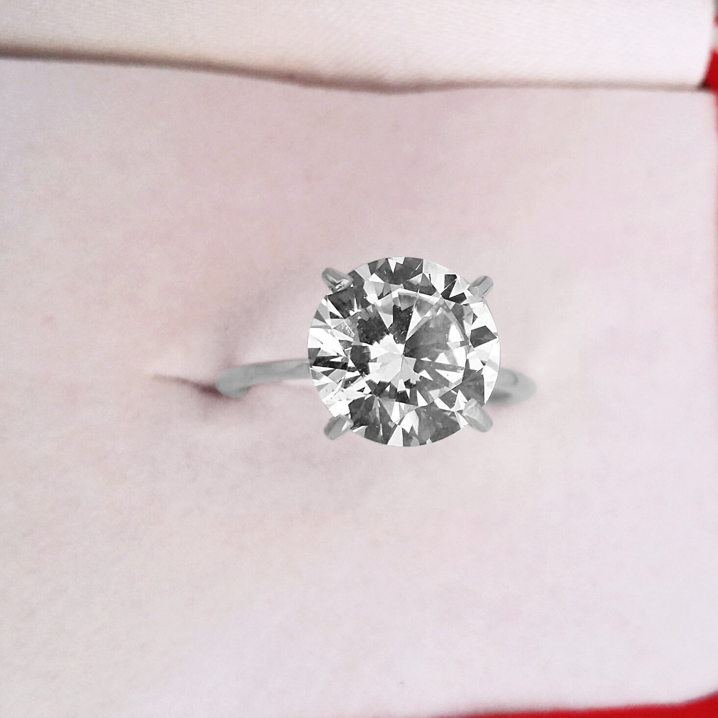 5.00 Ct Round Cut Diamond Engagement Rings 14K Solid White gold Solitaire Rings
