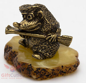 Russian Solid Brass Amber Figurine of Poet frog writing poetry IronWork
