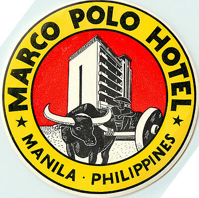 Marco Polo Hotel ~MANILA PHILIPPINES~ Huge & Scarce Old Luggage Label
