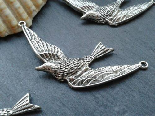 Antique Silver Swallow Bird Charms D2 5pcs Steampunk Vintage Pendants Kitsch