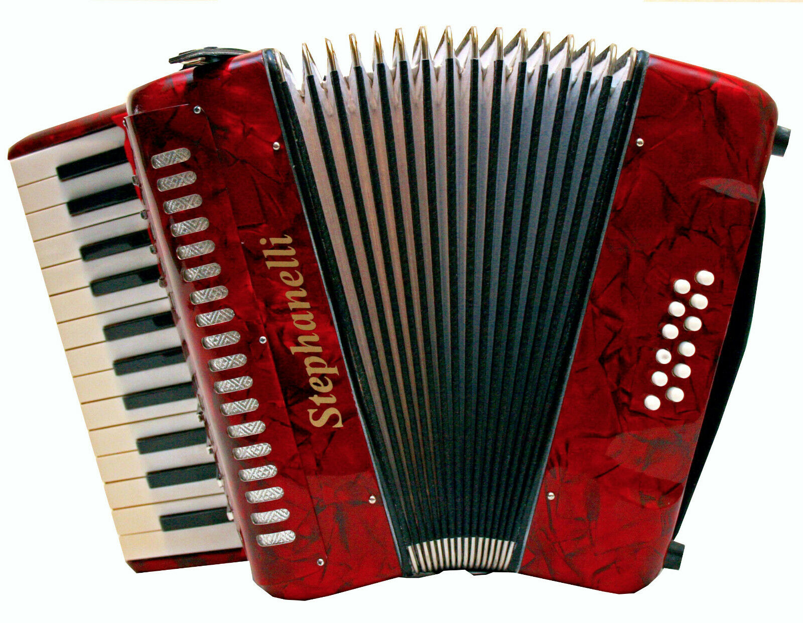 STEPHANELLI 12 BASS 2 VOICE PIANO ACCORDION COMPLETE WITH CASE