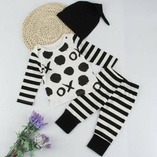 Newborn Baby Boy Little Girl Tops Romper Long Pants Hat Outfits Set Clothes