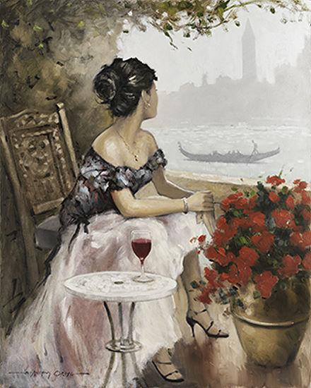 E.Anthony Orme  Afternoon On Keilrahmen-Bild Leinwand Venedig Frau Idylle Gondel