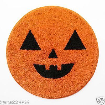 Pumpkin Face Jack o lantern Bath Throw Rug Mat Cotton Orange 24x24 NWT $30