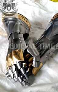 Medieval-Knight-Gauntlets-Functional-Armor-Gloves-Adult-Leather-Leather-Steel-Sc