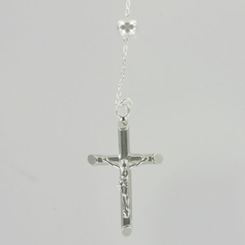 Hallmarked Silver 925 Rosary Beads Necklace With Crucifix And Miraculous Medal