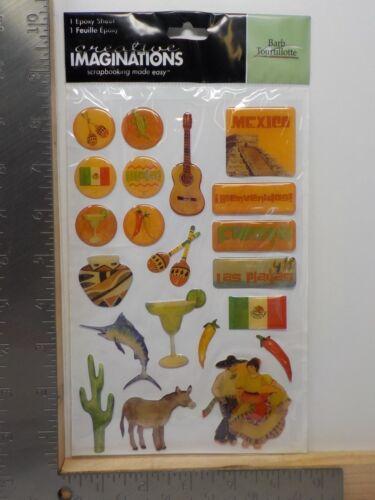 CREATIVE IMAGINATIONS MEXICO FIESTA BURRO CACTUS EPOXY SHEET STICKERS NEW A10348