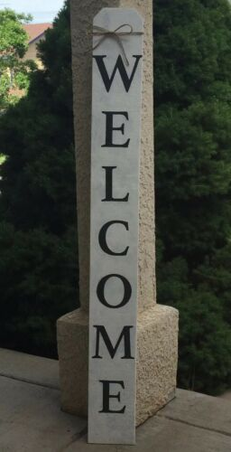 Large Rustic Wood Welcome Sign Vertical Farmhouse Primitive Porch Entry 4 ft