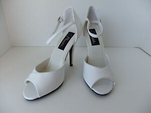 Pleaser-Seduce-204-Heels-Size-8-Open-Toe-White-Patent-Retro-Pinup-Sexy-Formal