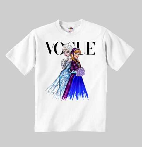 Elza and Anna Princess Vogue t-shirt Disney clothing kid toddler children shirt