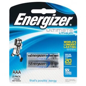 Energizer 92BP2T Ultimate Lithium Battery AAA Twin Pack -Free Post In Australia