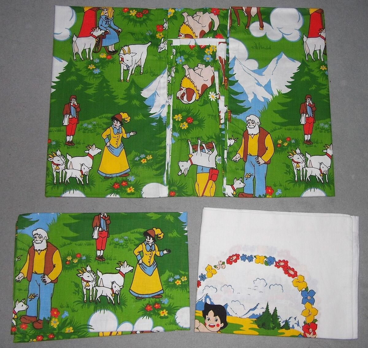 Heidi Baby-Linge de lit NEUF 70er Vintage New Fabric Bedding Girl of Alps 70 S personnage