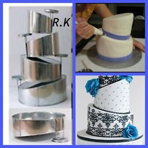 "4 Tier Topsy Turvy Wonky Round Cake Wedding Birthday Pans Tins 6"" 8"" 10"" 12"""