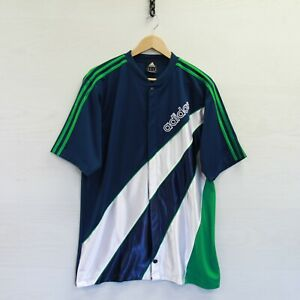 Details about Adidas Basketball Warm Up Practice Jersey Size Medium Navy Blue Green 3 Stripes