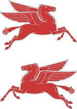 2 x MOBIL PEGASUS Decal Racing Car Stickers Classic Vintage