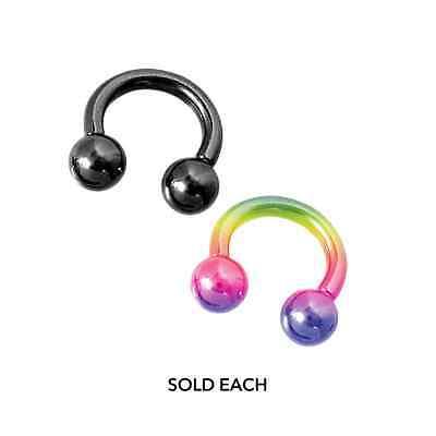 Pair of Titanium Circular Barbell w//Balls Horseshoe Earrings 6-2G