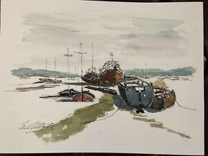 ORIGINAL-SIGNED-WATERCOLOUR-PAINTING-BOATS-SEA-LEIGH-ON-SEA-ESSEX-MARITIME-SCENE